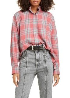 Isabel Marant Étoile Ilaria Ruffle Neck Plaid Shirt