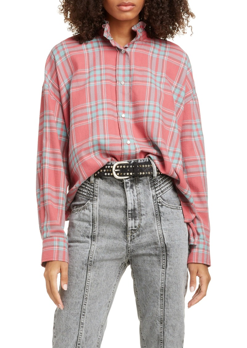 Isabel Marant Étoile Ilaria Ruffle Neck Plaid Shirt