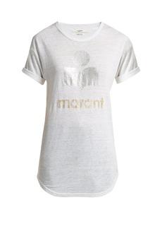 Isabel Marant Étoile Koldi foil-print slub-linen T-shirt