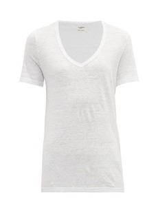 Isabel Marant Étoile Kranger scooped V-neck slubbed-linen T-shirt