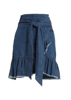 Isabel Marant Étoile Lindy asymmetric cotton-denim wrap skirt
