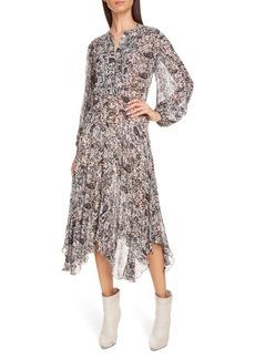 Isabel Marant Étoile Lizete Long Sleeve Handkerchief Hem Midi Dress