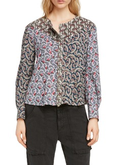 Isabel Marant Étoile Loris Mixed Print Cotton Blouse