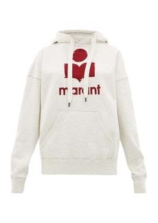 Isabel Marant Étoile Mansel flocked-logo cotton-blend hooded sweatshirt