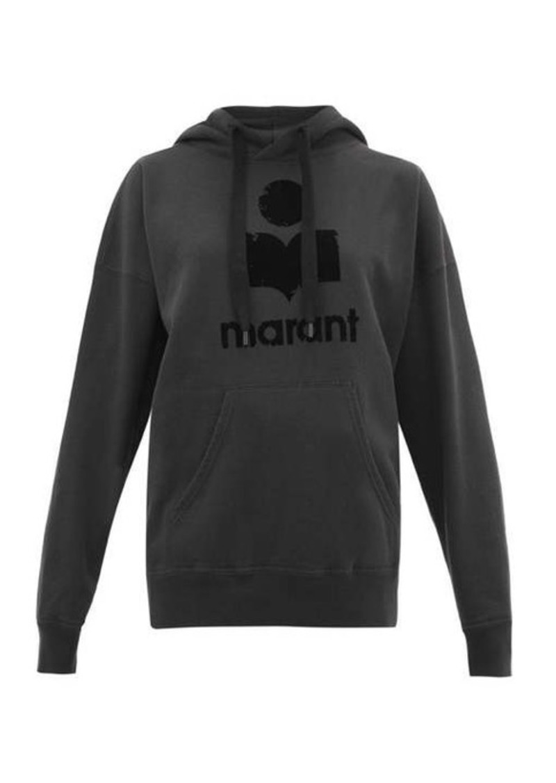 Isabel Marant Étoile Mansel flocked-logo cotton-blend hooded sweatshirt