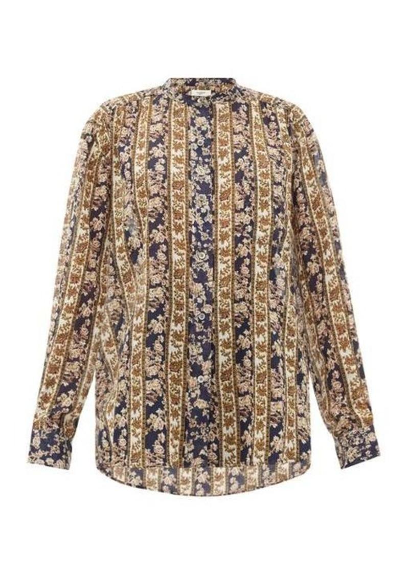 Isabel Marant Étoile Mexika floral-striped cotton-voile blouse