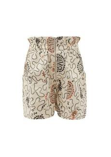 Isabel Marant Étoile Nawel paperbag-waist printed cotton shorts