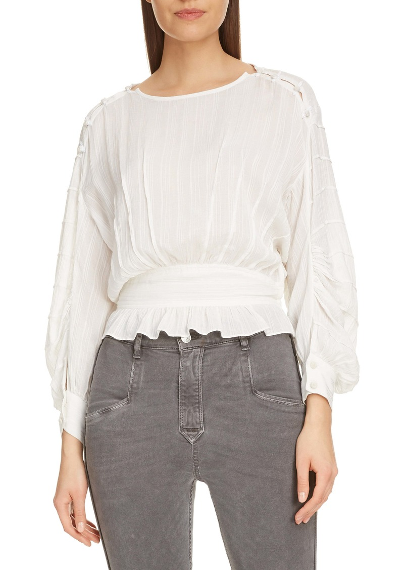 Isabel Marant Étoile Oak Pleated Peplum Top