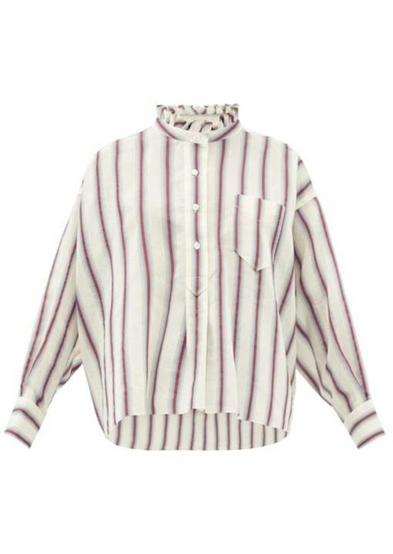 Isabel Marant Étoile Olena striped ruffle-neck cotton-blend shirt