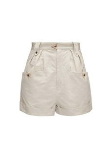 Isabel Marant Étoile Palino pleated-front high-rise cotton shorts
