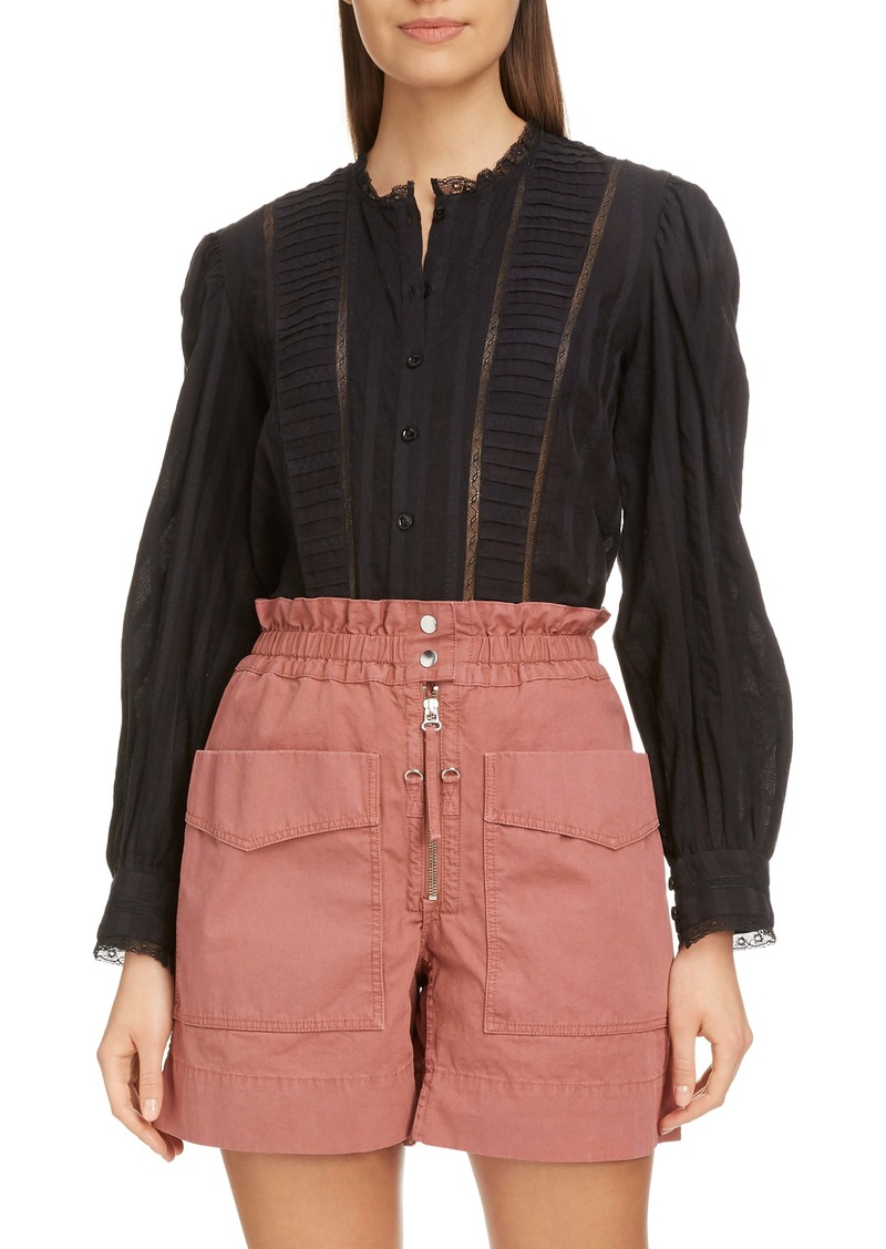 Isabel Marant Étoile Peachy Pleated Lace Inset Blouse