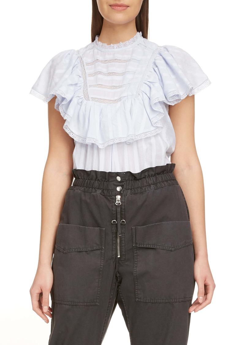 Isabel Marant Étoile Pleyel Lace Trim Cotton Top