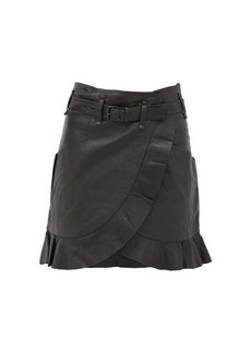 Isabel Marant Étoile Qing ruffled wrap-front leather mini skirt