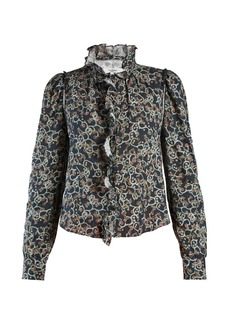 Isabel Marant Étoile Tauren abstract-print ruffle-trimmed linen blouse