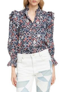 Isabel Marant Étoile Tedy Floral Print Linen Blouse