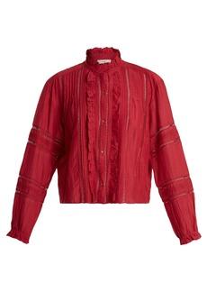 Isabel Marant Étoile Valda lace-trimmed cotton-blend blouse