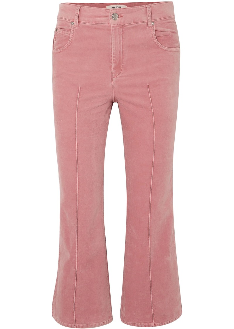 Isabel Marant Étoile Woman Anyree Stretch-cotton Velvet Kick-flare Pants Bubblegum