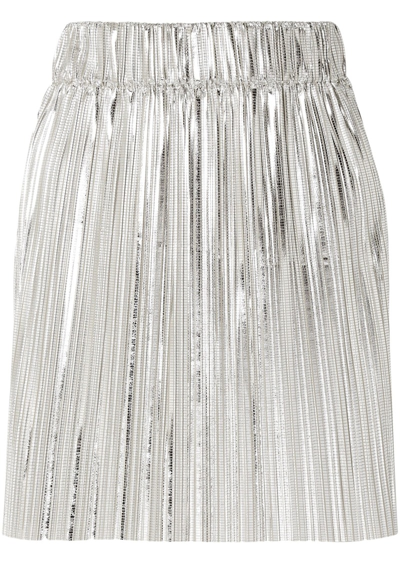 Isabel Marant Étoile Woman Delpha Plissé-lamé Mini Skirt Silver