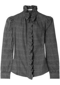 Isabel Marant Étoile Woman Ruffle-trimmed Cotton Shirt Dark Gray