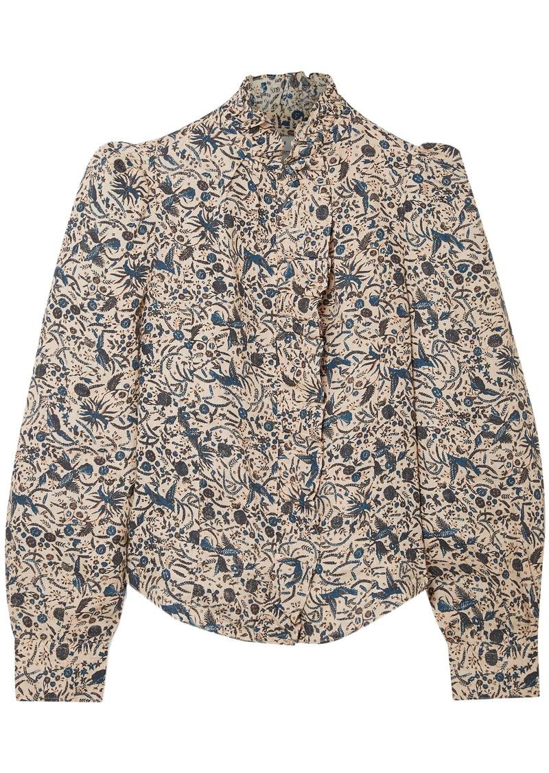Isabel Marant Étoile Woman Ruffle-trimmed Printed Linen Blouse Beige