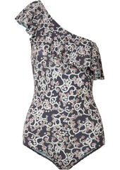Isabel Marant Étoile Woman Sicilya One-shoulder Cutout Printed Stretch-jersey Bodysuit Storm Blue
