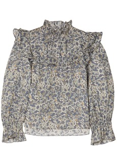 Isabel Marant Étoile Woman Ted Ruffled Printed Linen Blouse Light Blue
