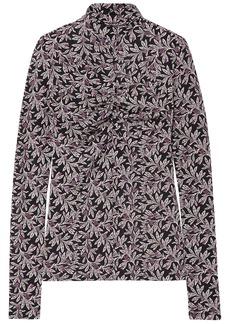 Isabel Marant Étoile Woman Truey Gathered Floral-print Stretch-jersey Turtleneck Top Black