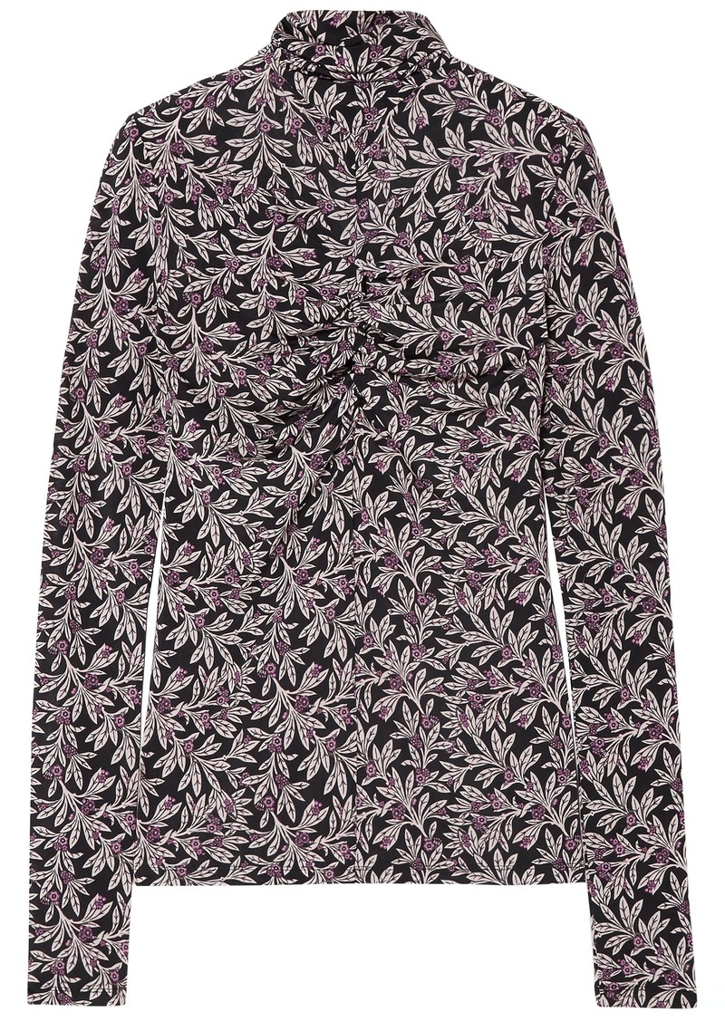 Isabel Marant Étoile Woman Truey Gathered Floral-print Stretch-jersey Turtleneck Top Black