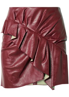Isabel Marant Étoile Woman Zeist Ruffled Faux Textured-leather Mini Skirt Claret