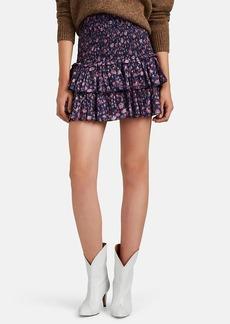 Isabel Marant Étoile Women's Naomi Smocked Floral Cotton Voile Miniskirt