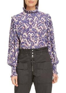 Isabel Marant Étoile Yoshi Smocked Neck Silk Top