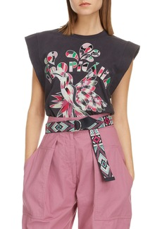 Isabel Marant Tropicalia Embroidered Cotton Graphic Tee
