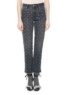 Isabel Marant Ulano Crystal-Studded Cropped Straight-Leg Jeans
