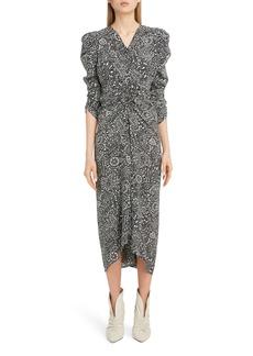 Isabel Marant V-Neck Full Sleeve Crepe Midi Dress
