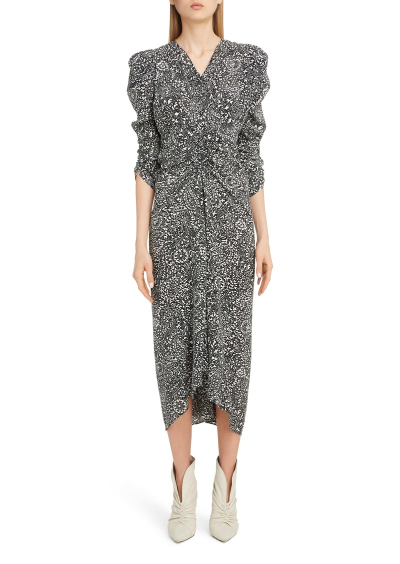 Isabel Marant V-Neck Full Sleeve Crepe Midi Dress