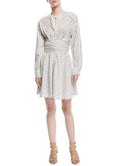 Isabel Marant Victoria Striped Cummerbund Shirtdress