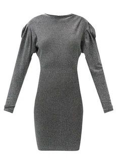 Isabel Marant Waden gathered-shoulder metallic-jersey dress