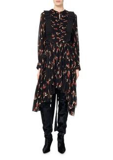 Isabel Marant Wesley Birds of Paradise Pleated Midi Dress