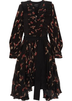 Isabel Marant Wesley ruffled floral-print plissé-chiffon midi dress