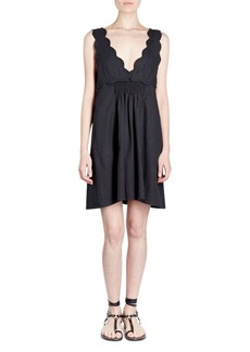 Isabel Marant Wilby Plunging Scalloped Sleeveless Cotton Dress
