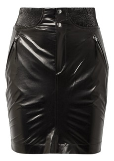 Isabel Marant Woman Amel Ribbed Knit-trimmed Coated-silk Mini Skirt Black