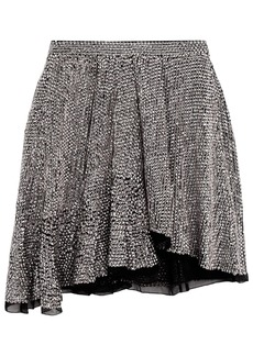 Isabel Marant Woman Babylon Asymmetric Sequined Chiffon Mini Skirt Silver