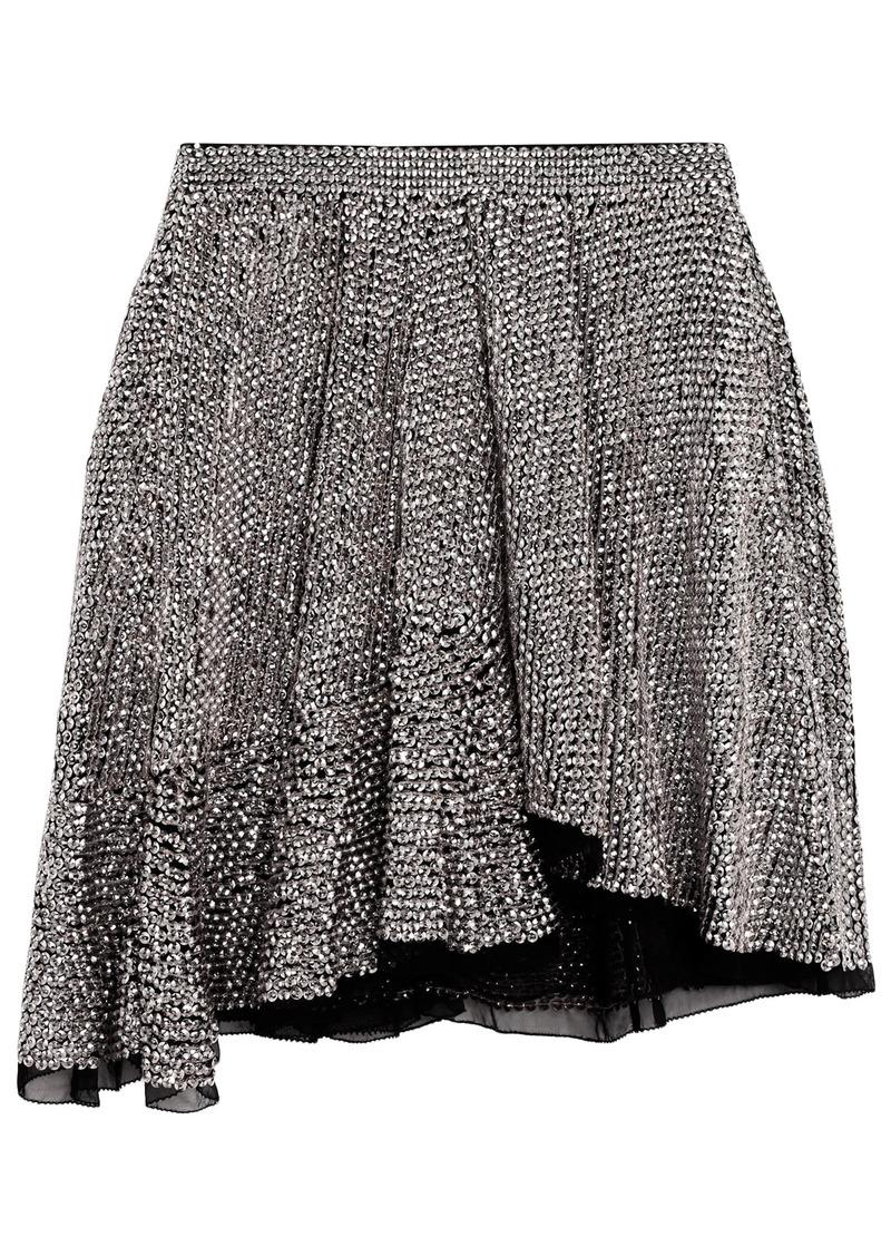 Isabel Marant Woman Babylon Asymmetric Sequined Chiffon Mini Skirt Silver