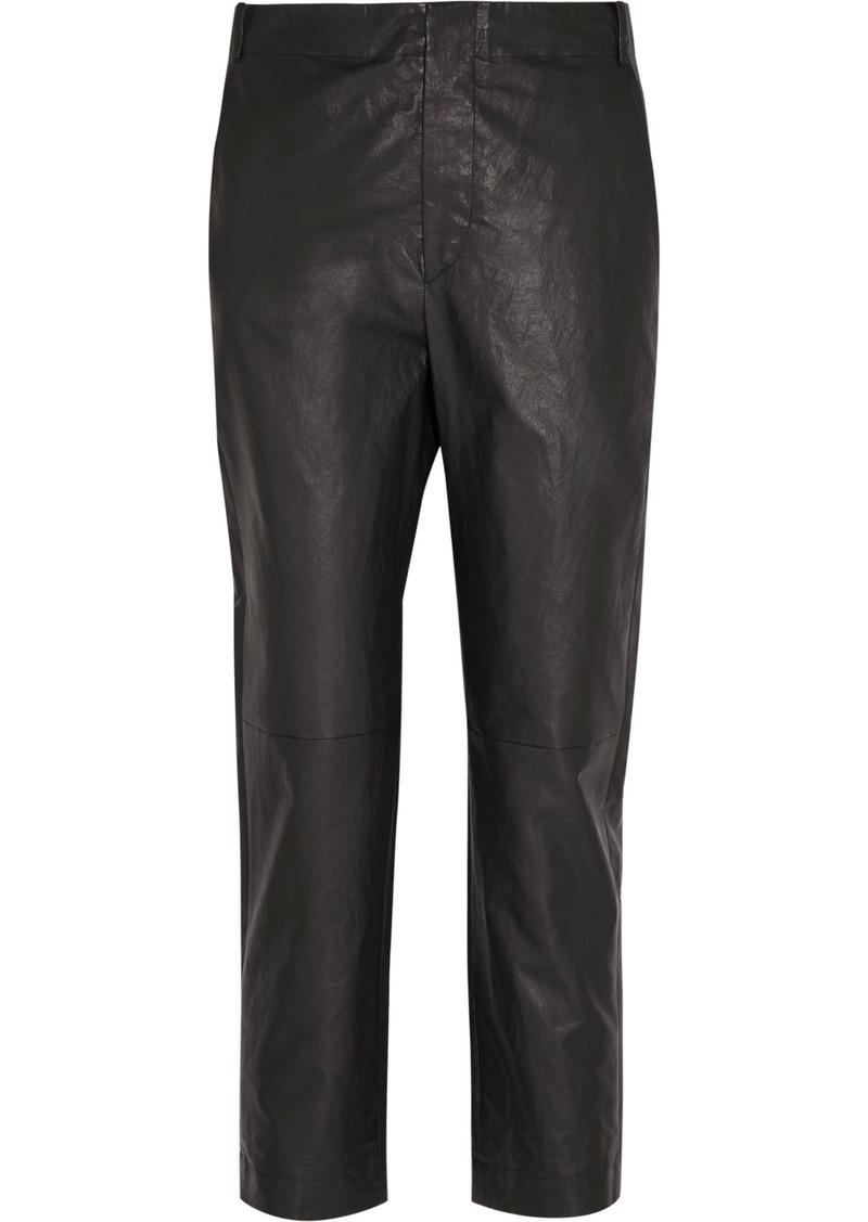 Isabel Marant Woman Baixa Leather Tapered Pants Black