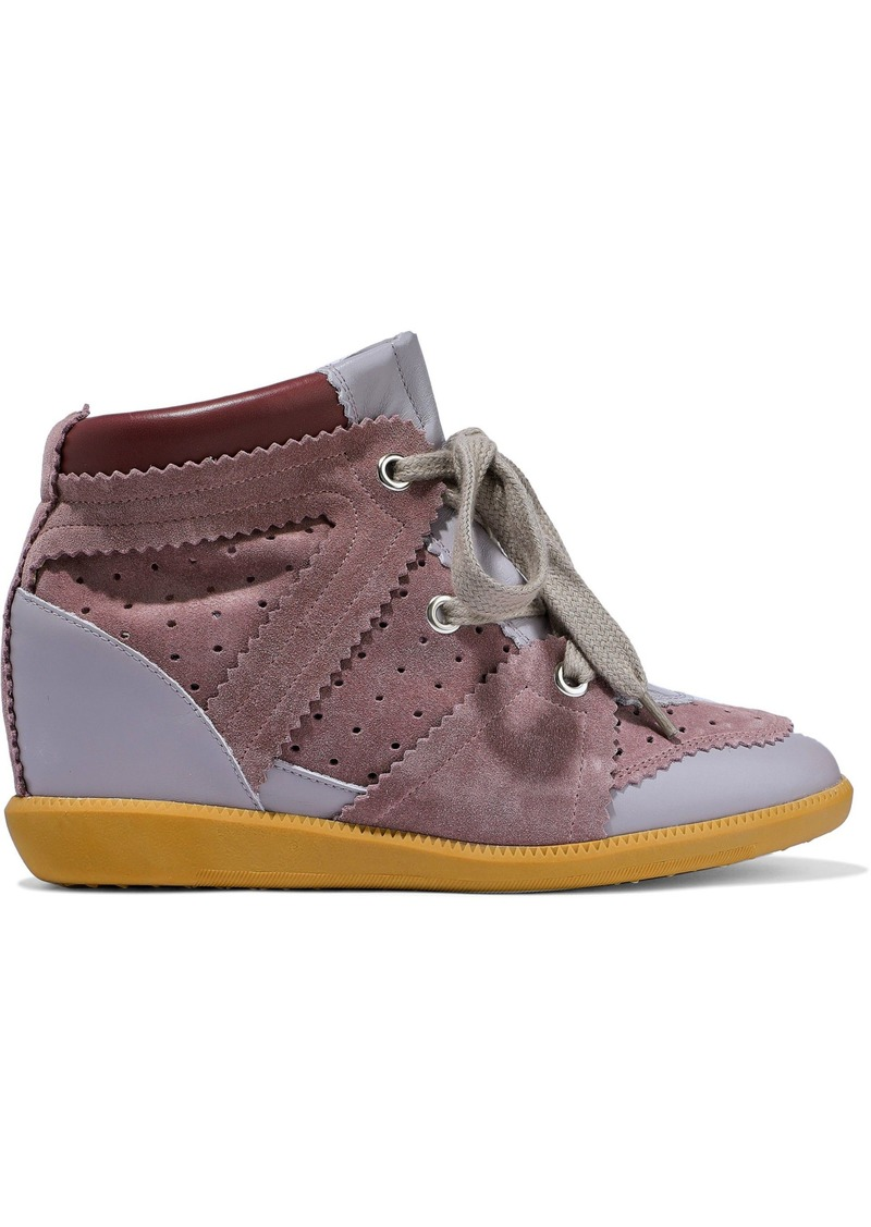 Isabel Marant Woman Betty Leather And Suede Wedge Sneakers Lilac