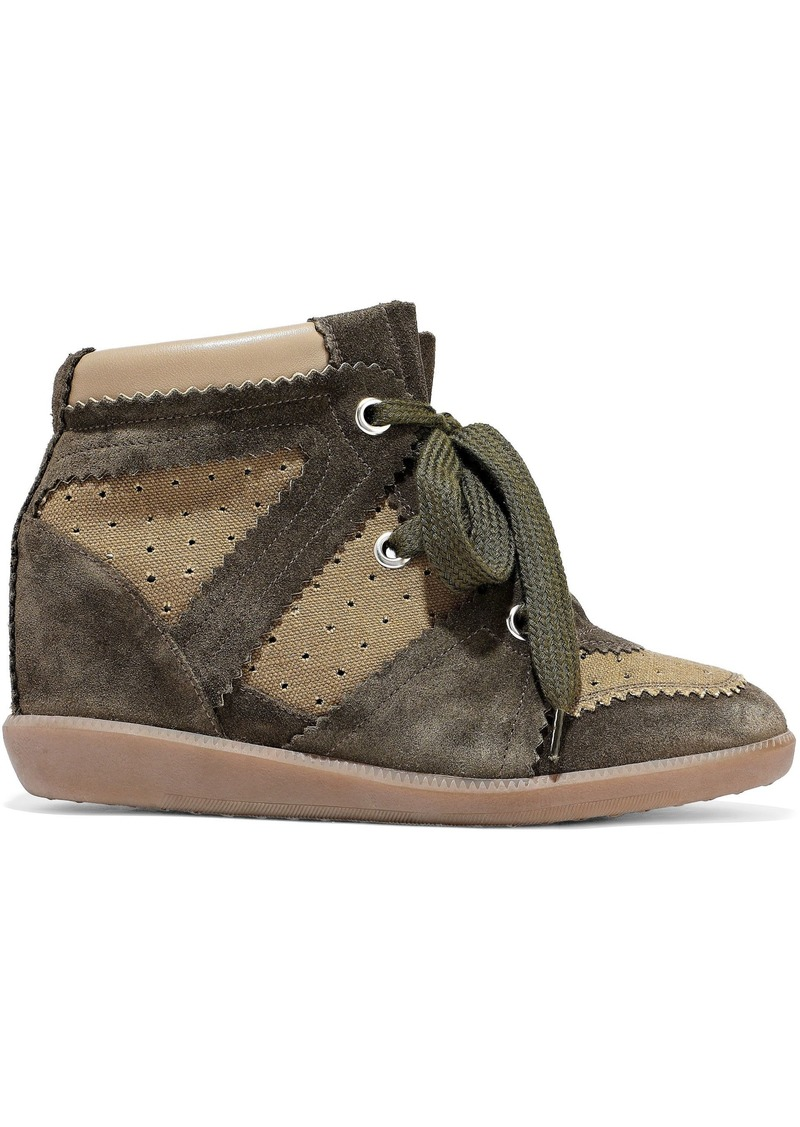 Isabel Marant Woman Bobby Perforated Canvas And Suede Wedge Sneakers Army Green