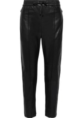 Isabel Marant Woman Coya Cropped Leather Track Pants Black