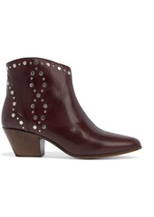 Isabel Marant Woman Dacken Studded Leather Ankle Boots Burgundy