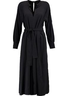 Isabel Marant Woman Dayna Belted Silk-blend Sateen Midi Dress Black