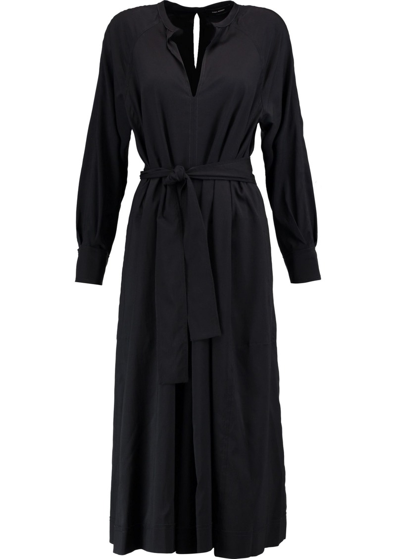 Isabel Marant Woman Dayna Belted Silk-blend Sateen Midi Dress Black
